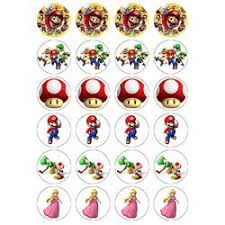 mario cake toppers nintendo mario style 24 edible wafer paper fairy cup cake