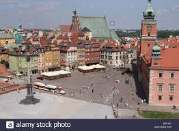 warsaw poland the old town area showing the royal palace square