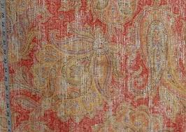 Pale Pink Velvet Upholstery Fabric Salmon Orange Indienne Fabric Paisley Vintage Fresco Chenille