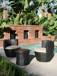 Stackable Patio Furniture Set 3 Piece Stackable All Weather Modern Outdoor Balcony Patio
