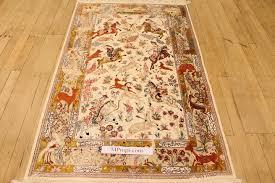 Silk Oriental Rugs Pictorial Hunting Qom Persian Rugs Silk Hunting Qum Carpets