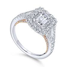 gold emerald engagement rings venetia 14k white and gold emerald cut halo engagement