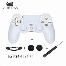 ps4 controller white light replacement white shell chrome gold buttons for playstation 4 ps4