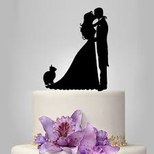 cat wedding cake topper acrylic wedding cake topper and groom silhouette wedding
