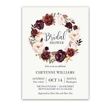 bridal shower invitation floral wreath bridal shower invitations blush wine
