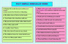 simple irregular verbs worksheet