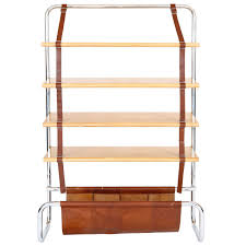 Oak Bookcases For Sale Large Leather And Oak Wall Shelf By Luigi Massoni For Sale At 1stdibs