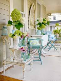 front porch with hydrangeas and vintage furniture front porch
