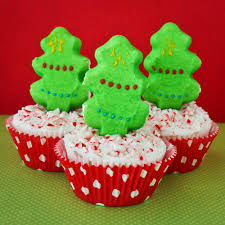 peeps christmas tree cupcakes with candy cane frosting love from
