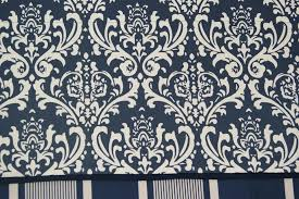 open damask navy blue cream scroll toile valance 17 x 55 drapery