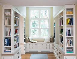 Window Seat Bookshelves Interior Exciting Modern Home Library Design White Open