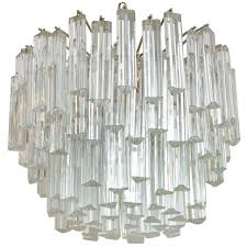 Chandelier Prisms For Sale Lush Camer Glass Chandelier With Venini Triedri Crystals For Sale