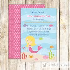 Birthday Invitation Cards Printable Mermaid Birthday Invitation Under The Sea Mermaid Birthday