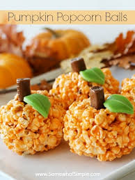 Rice Crispy Treat Pumpkins Pumpkin Popcorn Balls A Simple Halloween Treat By Somewhat Simple