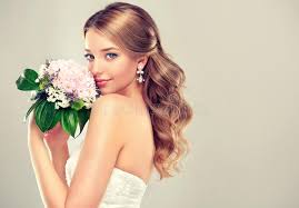 in wedding dress girl in wedding dress with hairstyle stock photo