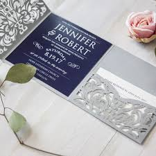 wedding invitations navy navy blue silver laser cut pocket wedding invites ewws176