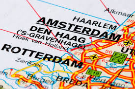 The Netherlands Map Close Up Of A Road Map Between Dutch Cities The Netherlands