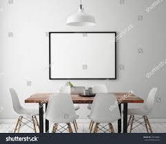 Scandinavian Dining Room Mock Poster Frame White Scandinavian Dining Stock Illustration
