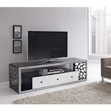 Living Room Glass Tv Cabinet Designs Thick Tempered Safety Glass In A Hand Brushed Silver Steel Frame