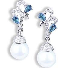 beautiful ear rings beautiful blue sapphire white pearl earrings gifts are blue