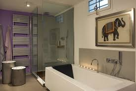 minimalist bathroom design with translucent glass partition