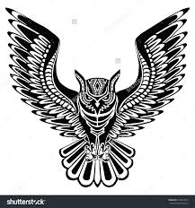 Patterned Flying Owl Drawing Illustration Flying Owl Black Silhouette With A Pattern On The