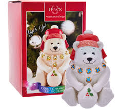 Lenox Christmas Ornaments Qvc by Lenox Porcelain North Pole Lit Holiday Figurines With Gift Box