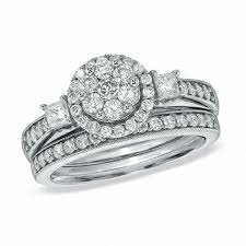 zales engagement rings 1 ct t w and princess cut flower bridal set in 10k