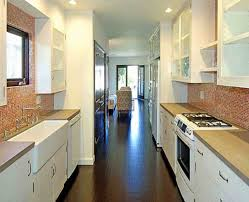 Long Galley Kitchen Kitchen Cabinets Maple Wood Quartz Countertop Slabs White Galley