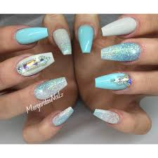 pastel blue coffin nails summer 2016 nail art glitter ombré