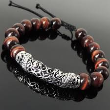braided bracelet with beads images Handmade asian zodiac dragon bracelet red tiger eye sterling jpg