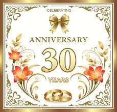 year wedding anniversary 30 year wedding anniversary with rings and lilies in a gold frame