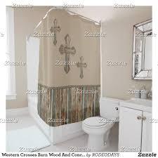 Western Bathroom Shower Curtains Western Crosses Barn Wood And Conchos Shower Curtain Bath Shower