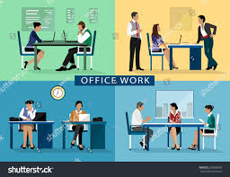 Office Work Images Set Business People Working Office Flat Stock Vector 295068083