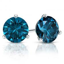 blue diamond stud earrings certified 14k white gold 3 prong martini blue diamond stud