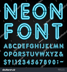 Light Type Neon Light Alphabet Vector Font Type Letters Stock Vector