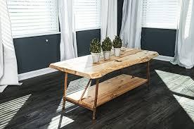Pipe Coffee Table by Amazon Com Niangua Furniture Live Edge Hickory Rustic Coffee