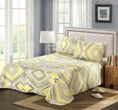 tache 3 piece modern yellow summer diamond bedspread set u2013 tache