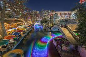 downtown san antonio christmas lights san antonio river walk with christmas lights in texas usa stock