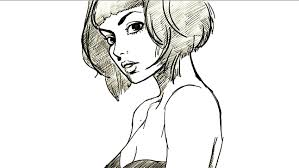 how to draw girl with bob hairstyle youtube