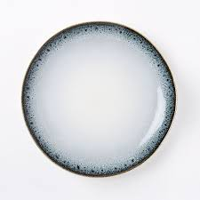 reactive glaze dinner plates set of 4 black white west elm