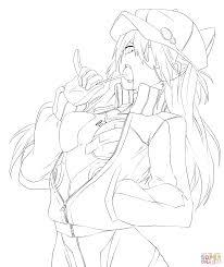 asuka langley sohryu from neon genesis evangelion manga coloring