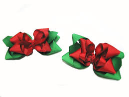 christmas hair bows and green christmas pointed loopy hair bows