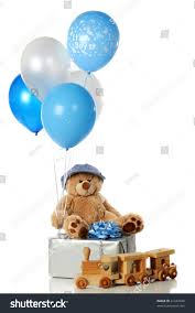 teddy in a balloon gift its boy balloon others wrapped gift stock photo 41242948