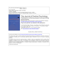 hope and optimism as related to life satisfaction pdf download