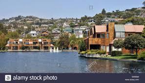 contemporary housing development alongside a lagoon close to the