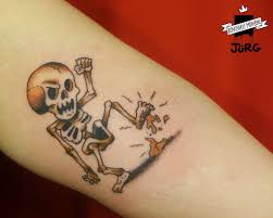 friday the 13th skeleton color tattoo by jurg poulycrock