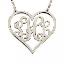 monogram necklace silver sterling silver heart monogram necklace abc necklace