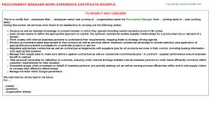 Sample Resume For Procurement Officer by Procurement Manager Work Experience Certificate