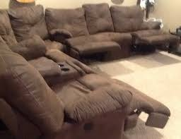 stylish sectional sofas with recliners and cup holders brown suede